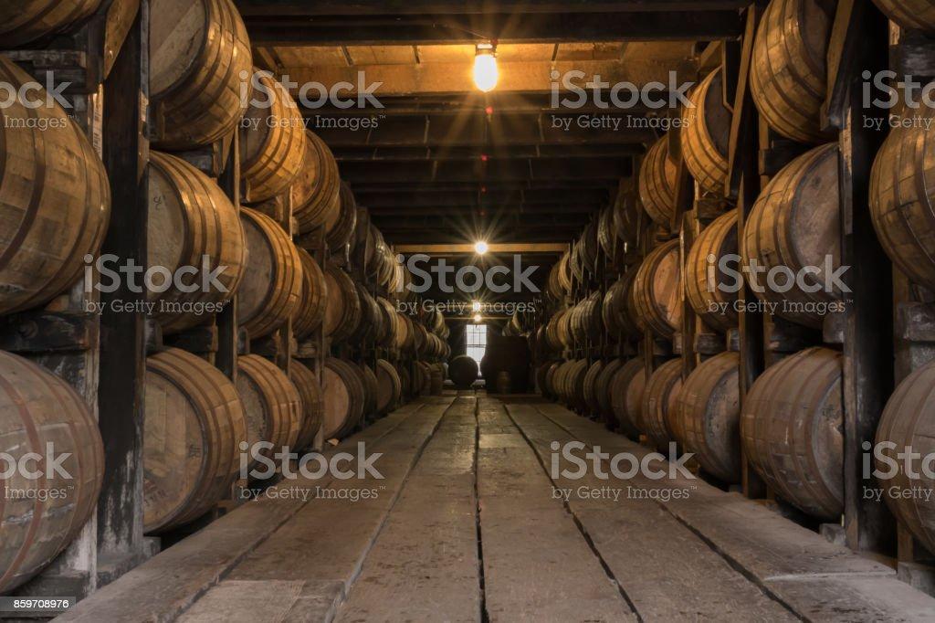 Starburst on Lights in Bourbon Aging Warehouse stock photo