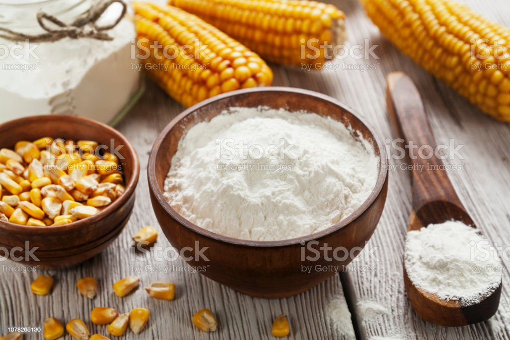 Starch and corn cob stock photo