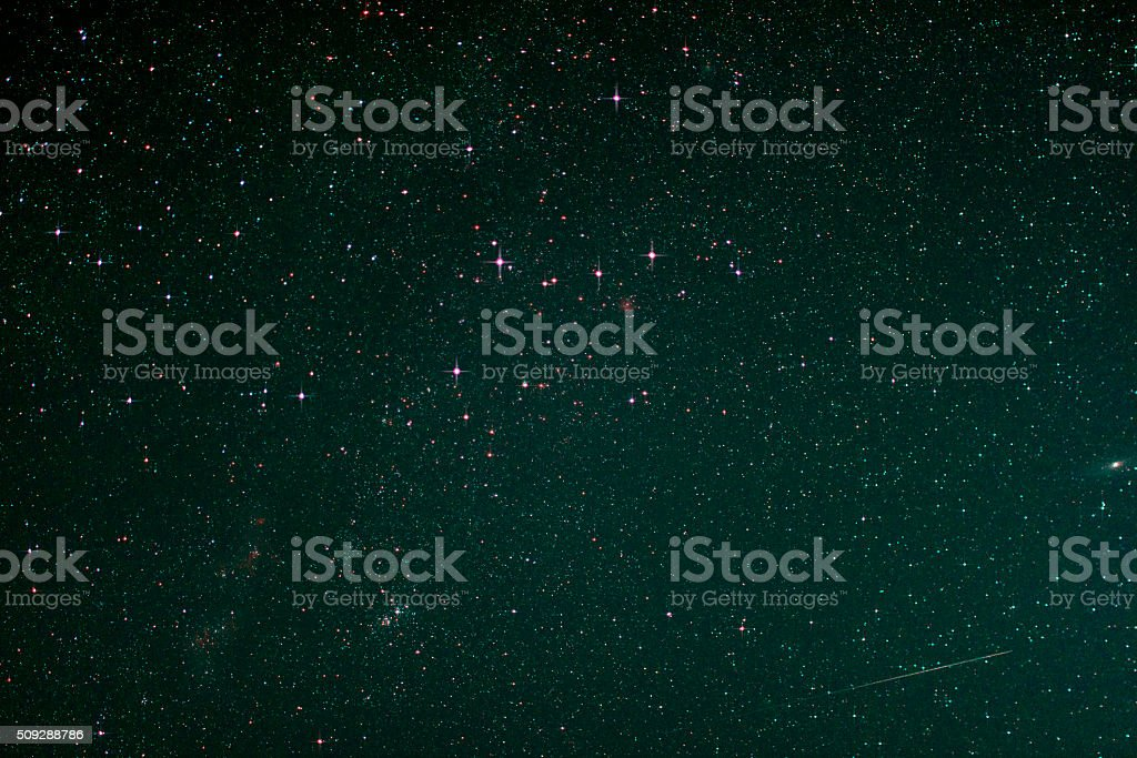 Starfield with Cassiopeia, Andromeda Galaxy Milky Way and Falling Star stock photo