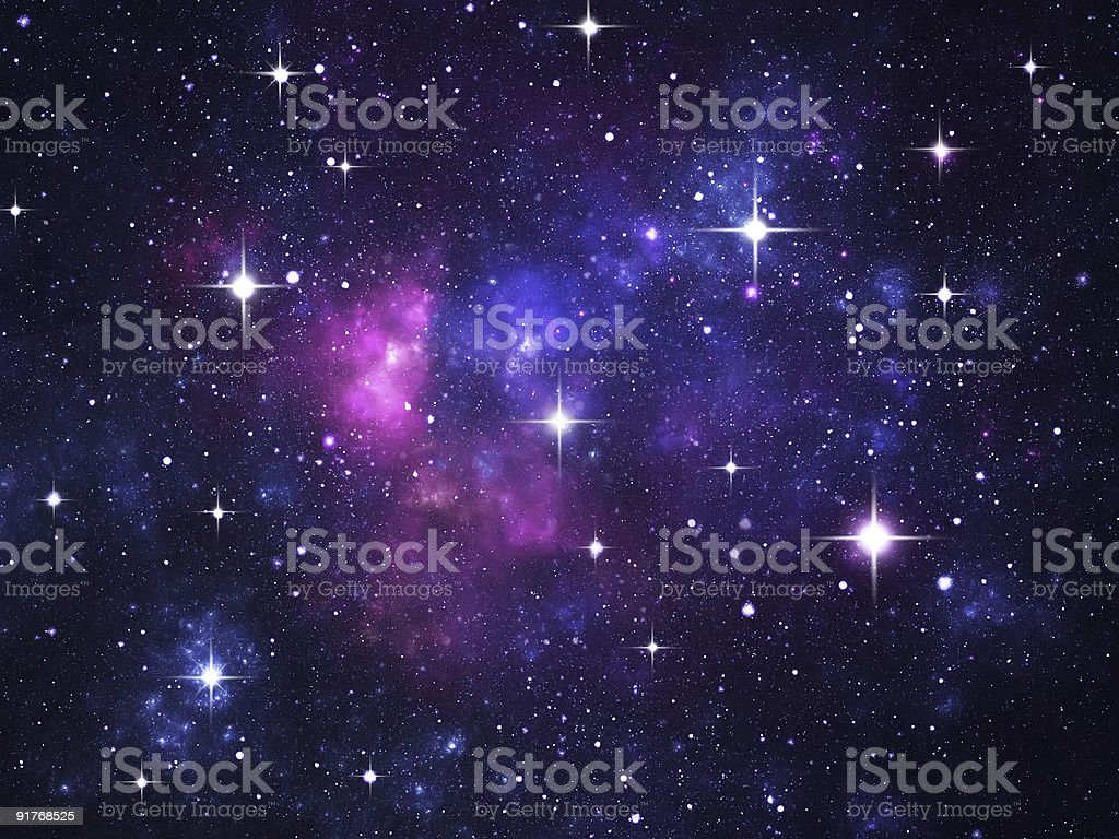 Starfield with flares stock photo