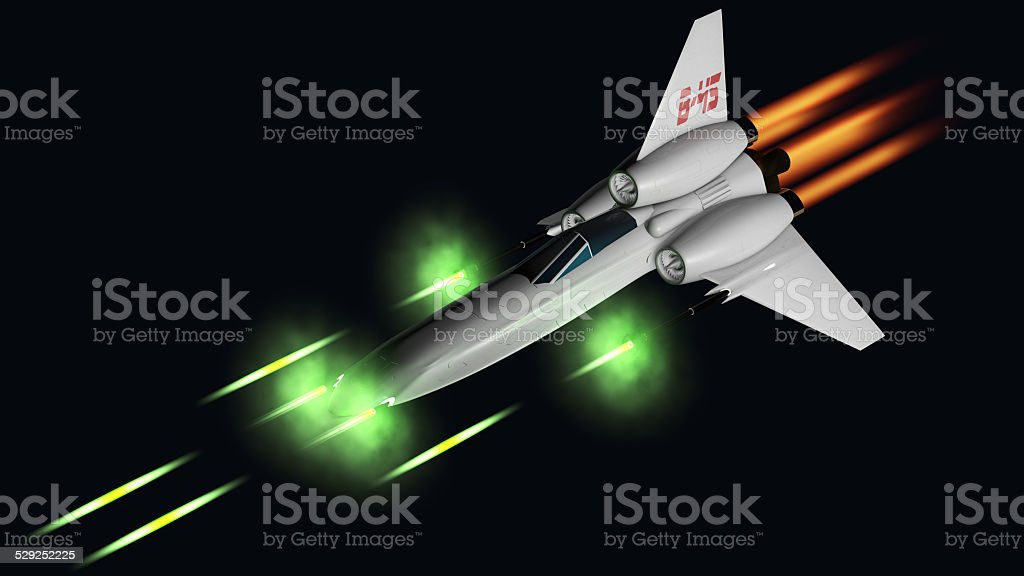 starfighter shooting his four guns stock photo
