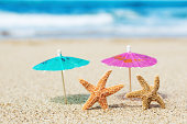 istock Starfish Couple Vacationing on Tropical Paradise Beach 185122651