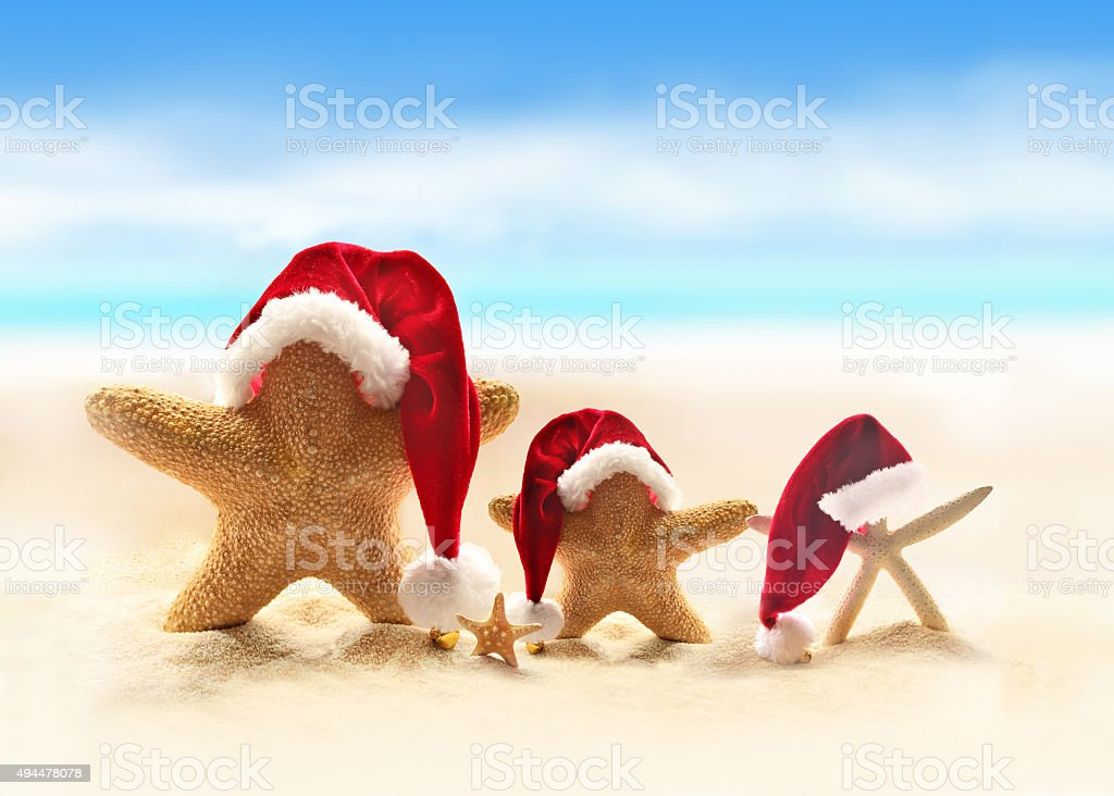 Starfish on summer beach and Santa hat stock photo