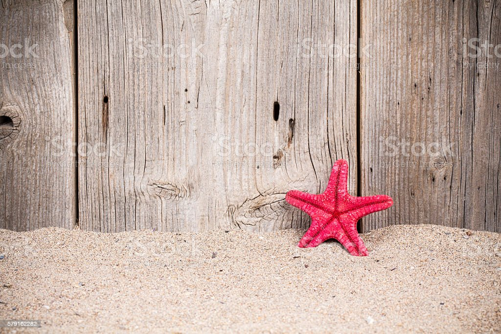 Starfish with sand and old wooden fence stock photo