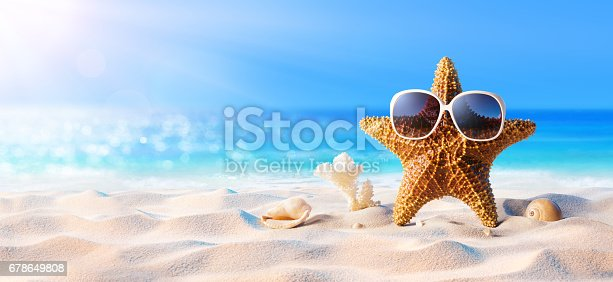 Starfish With Sunglasses On The Sunny Beach Stock Photo ...