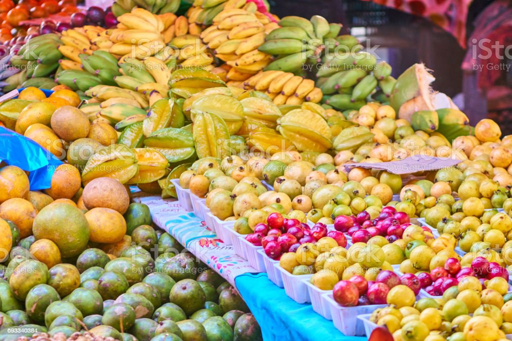 Starfruits, guavas, bananas - Reunion Island stock photo