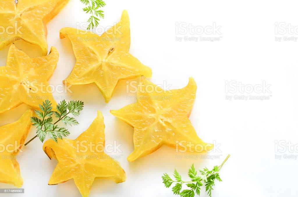 starfruits in white background stock photo