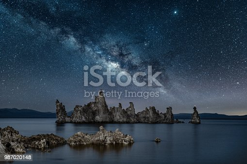 Milky way rising over Tufa Formations at Mono Lake in California