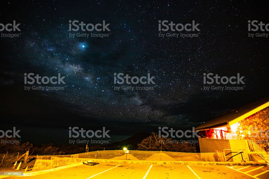 Stargazing at Night on Mauna Kea Mountain - Big Island, Hawaii USA stock photo