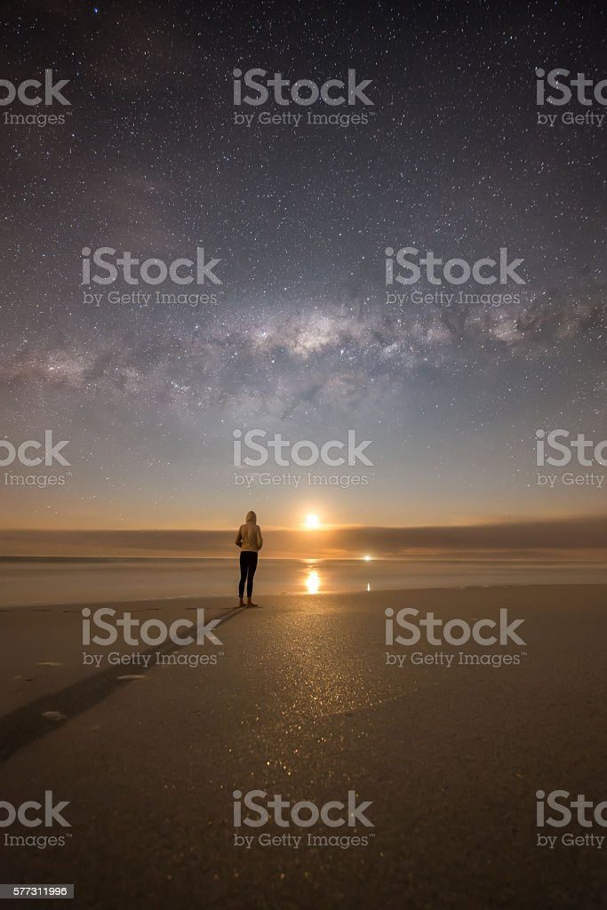 Stargazing with the moon stock photo