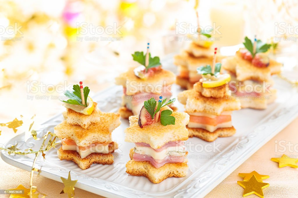 Starhaped holiday Appetizers. - foto stock