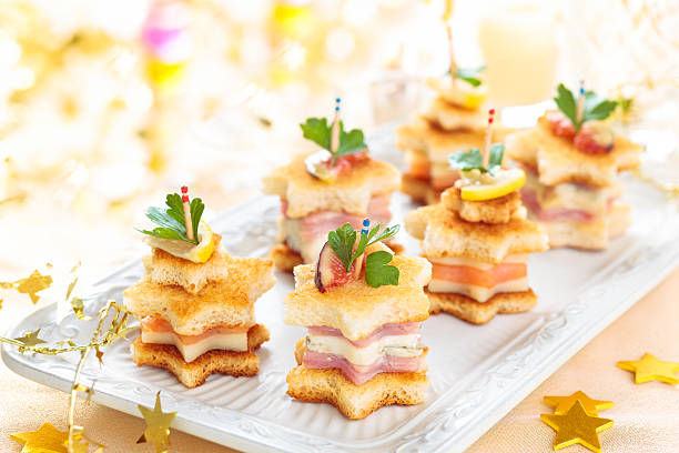 Starhaped holiday Appetizers. stock photo