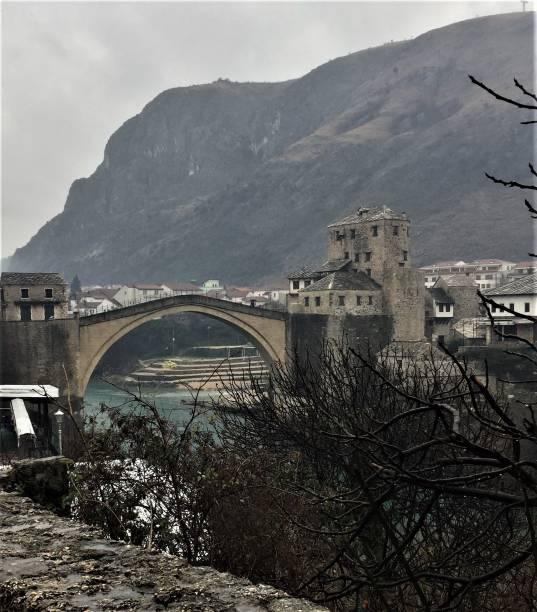 Stari Most bridge from a distance stock photo