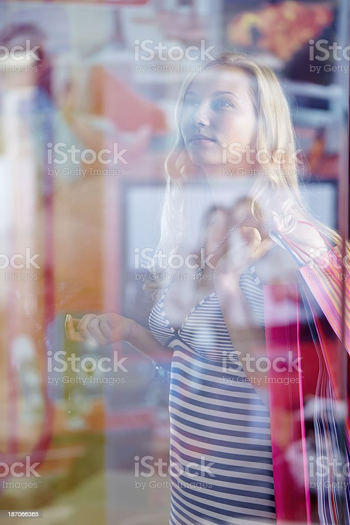 Staring at shopping window royalty-free stock photo