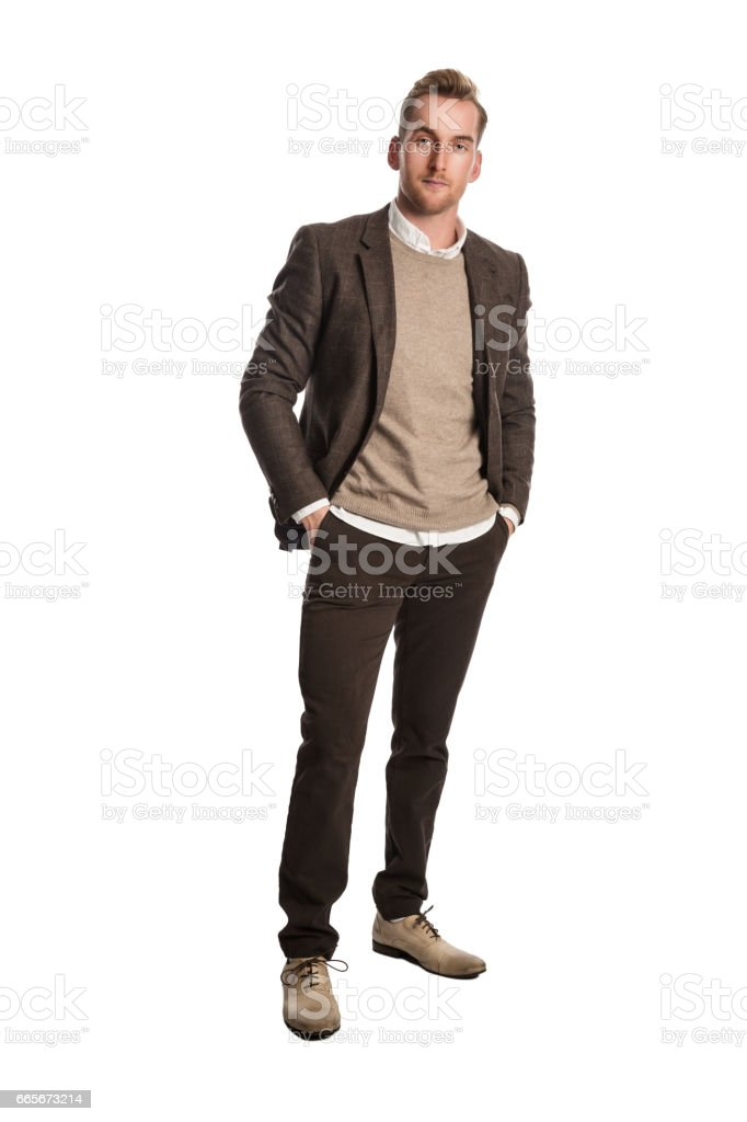 Staring businessman in brown blazer stock photo