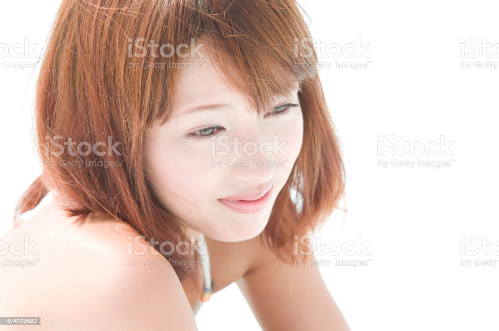 Staring into the distance in her swimsuit women royalty-free stock photo