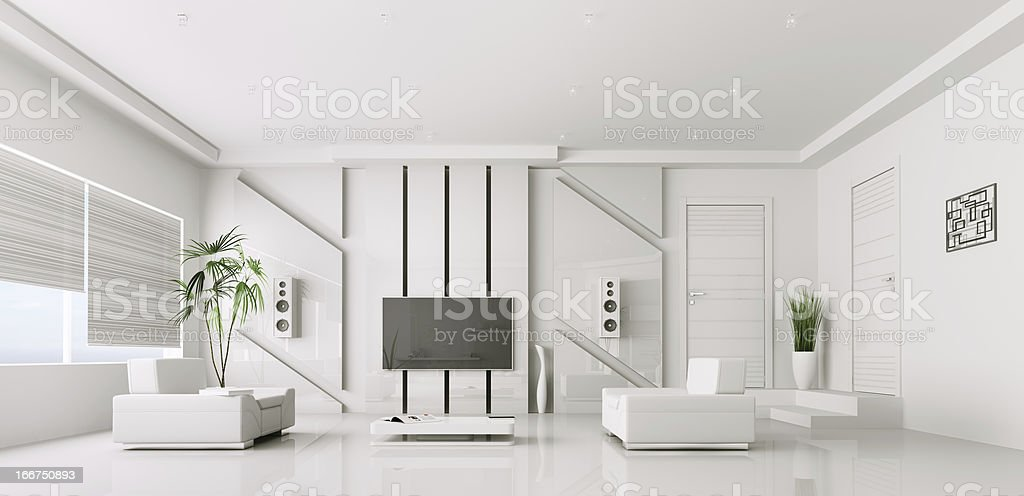 Stark white living room with white furniture stock photo