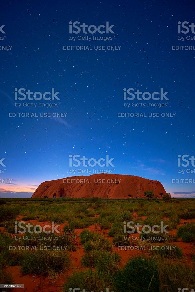 Starlight Over Uluru stock photo