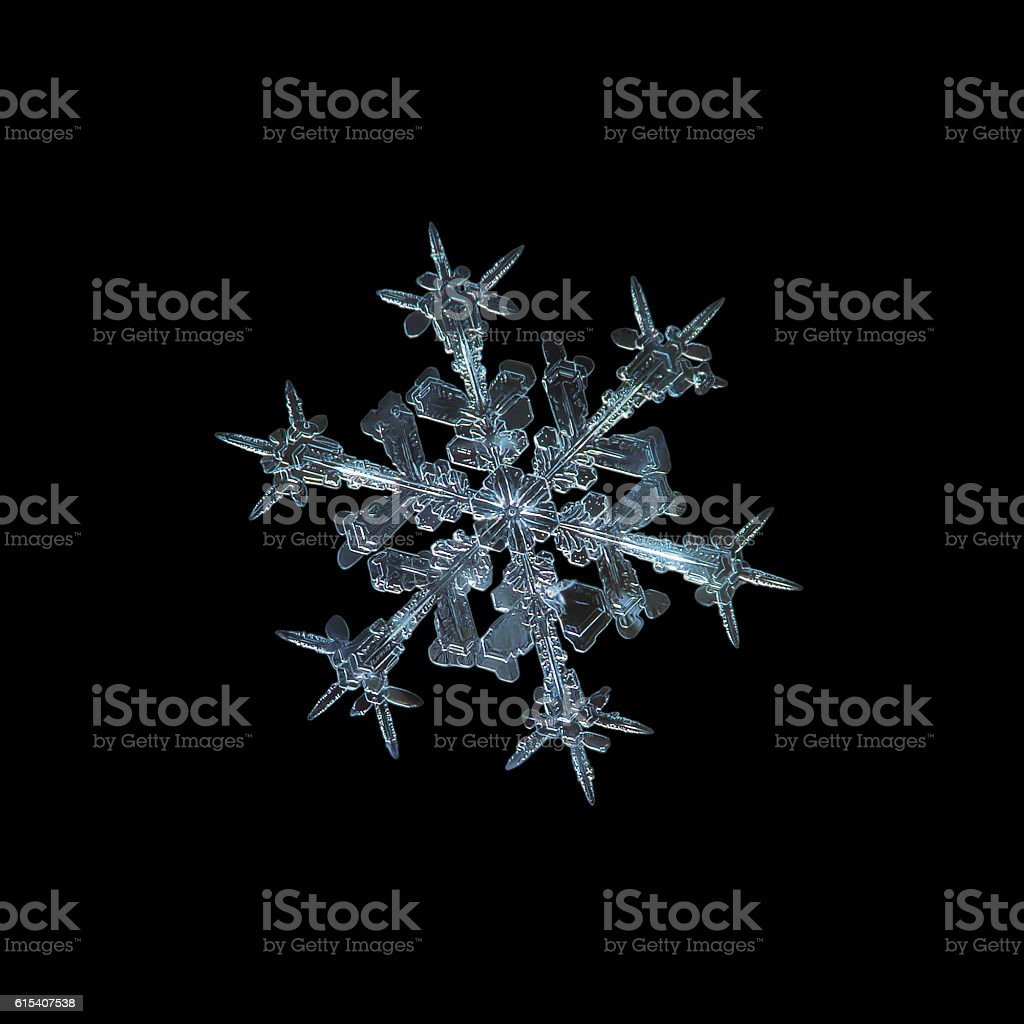 Starlight: real snowflake isolated on black background stock photo