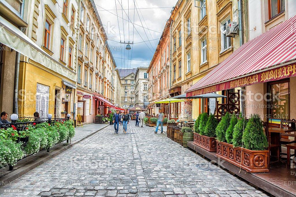 Staroievreiska St., city center, Lviv, Ukraine stock photo