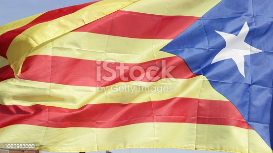 Outdoors view on a flapping Flag of Catalonia