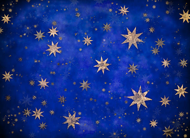 starry christmas background with gold foil stars stock photo more pictures of abstract istock - Starry Christmas