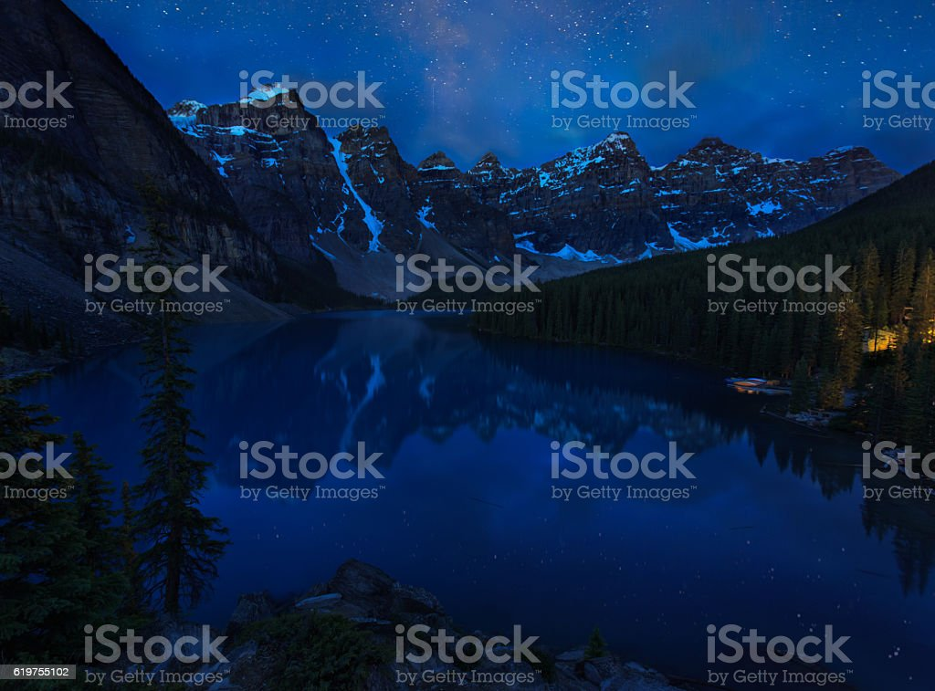 Starry Moraine Lake stock photo