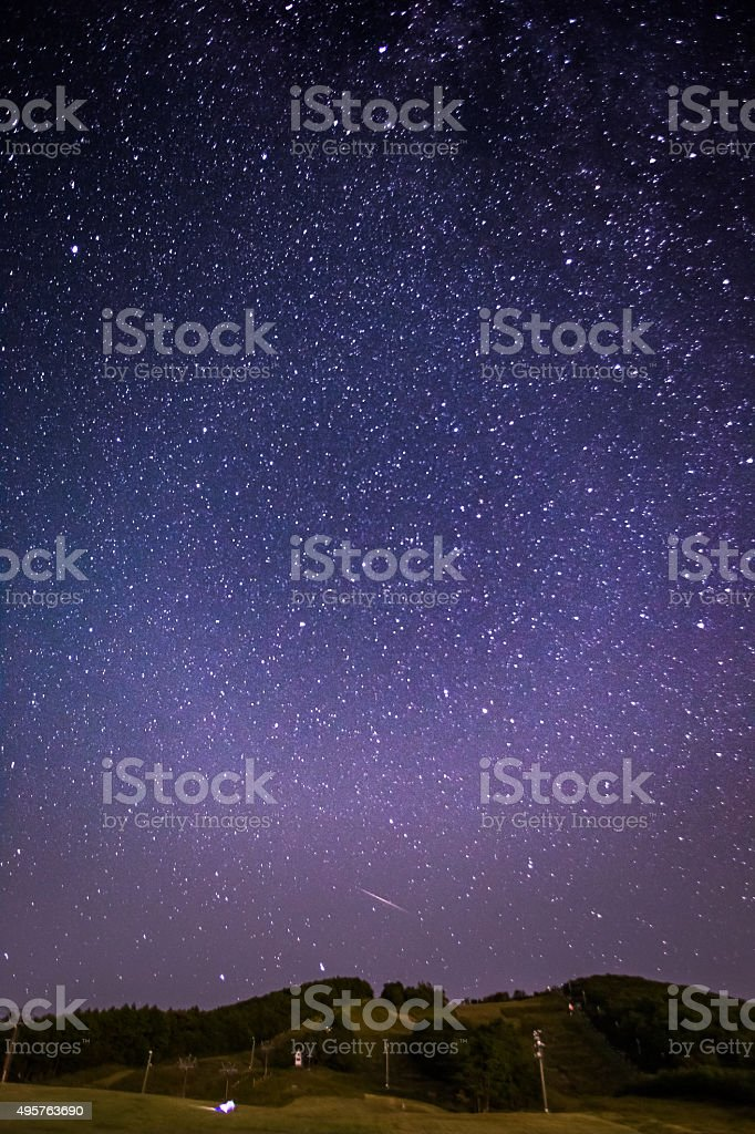 Starry night in Japan, at beautiful mountain Izumigatake, with...