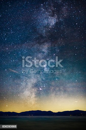 istock Starry Night and Milky Way above Lake Tahoe 836390668
