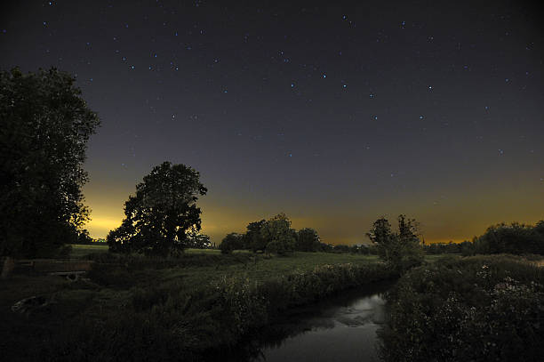 Starry Night and River, England Starry Night over the River Penk,Somerford,Staffordshire,UK big dipper constellation stock pictures, royalty-free photos & images
