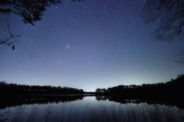 Starry night at lake stock photo