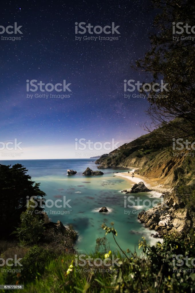 Starry night at Mcway Falls stock photo
