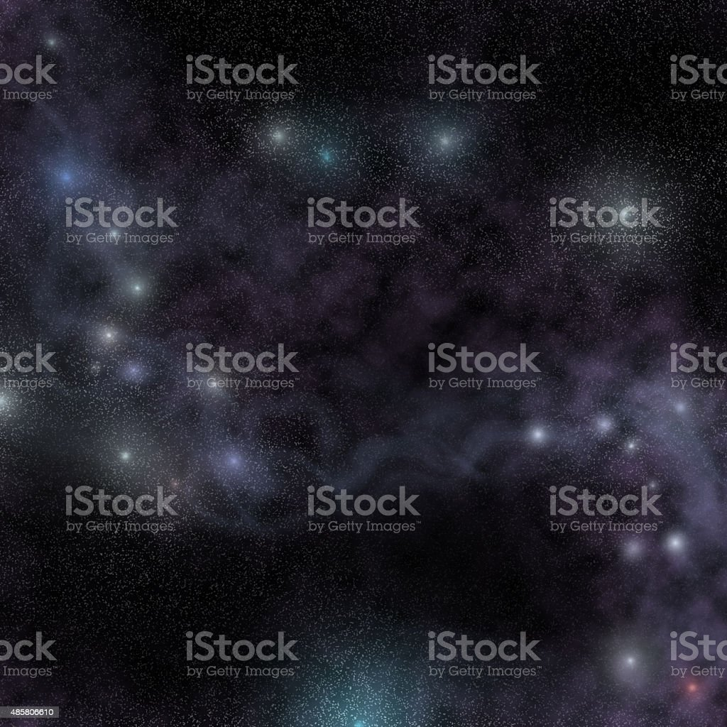 Starry night cosmic view, glowing nebula in outer space stock photo