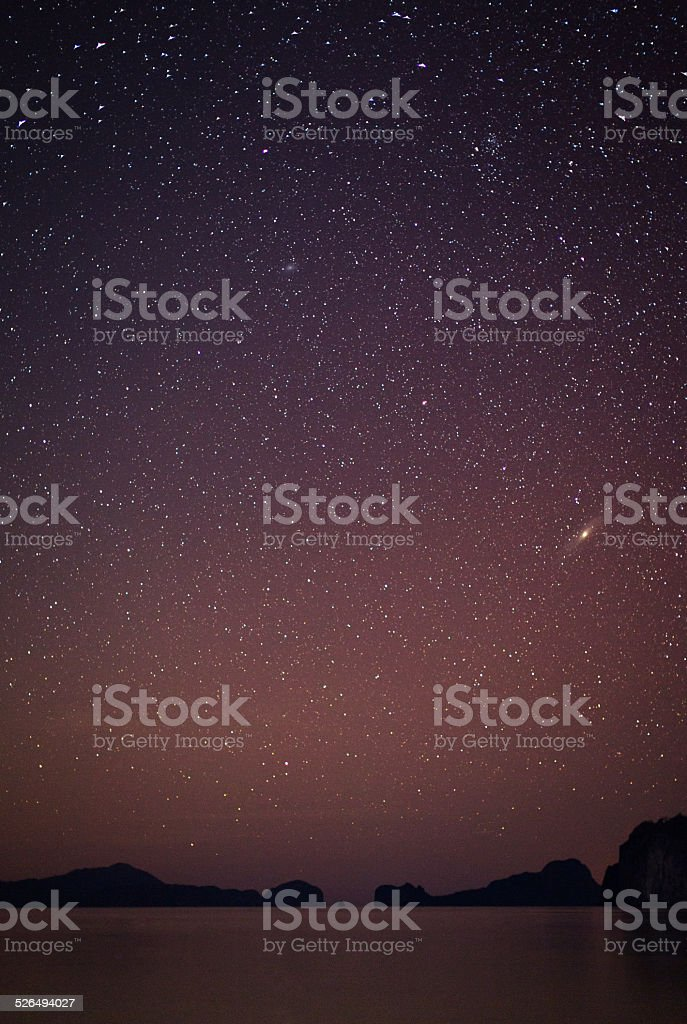 Starry night in El Nido, Philippines stock photo