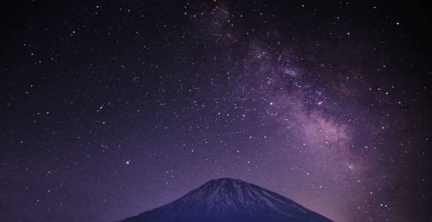 Starry Night in Niseko with the Milkyway Galaxy stock photo