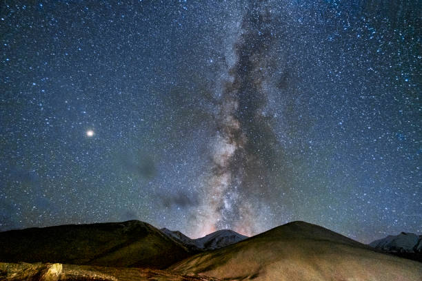 Starry night Milky Way in Ladakh India stock photo
