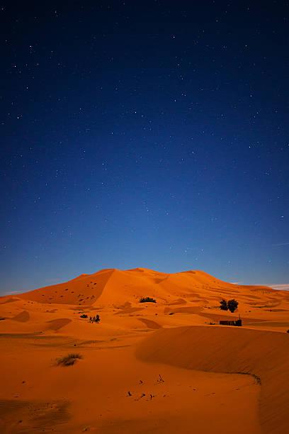 Starry Night Over Sand Dunes of the Sahara Desert stock photo