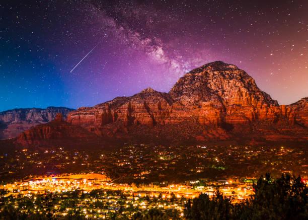 Starry Night Over Sedona AZ stock photo