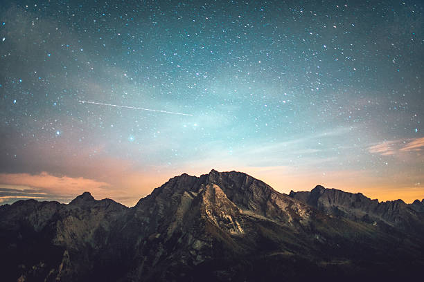 starry night - mountain stock photos and pictures