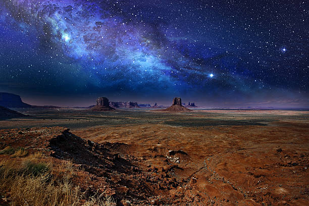 starry night sky in monument valley - west direction stock pictures, royalty-free photos & images