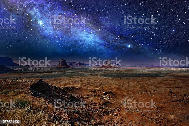 Photo of starry night sky in monument valley