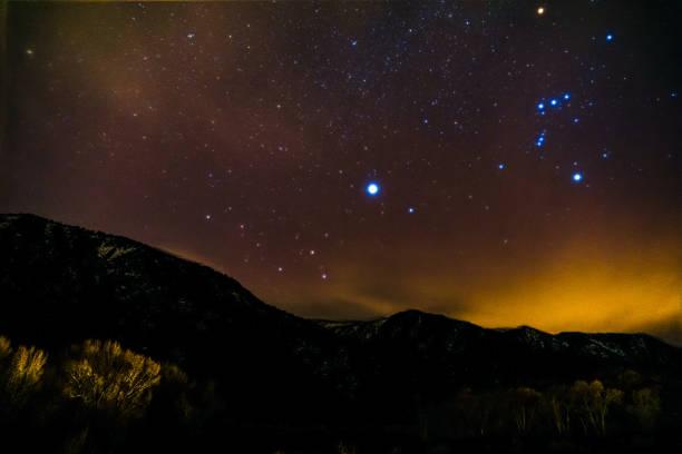 Starry Night Sky Orion stock photo