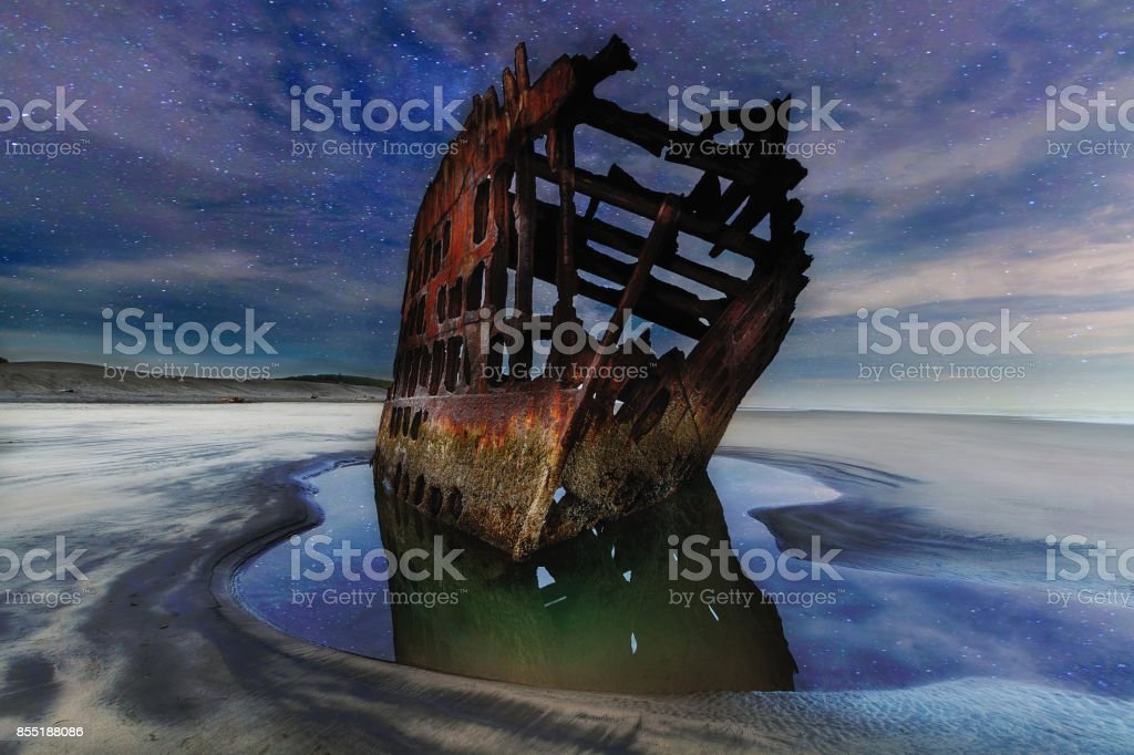 Starry Night Sky over Peter Iredale Shipwreck stock photo