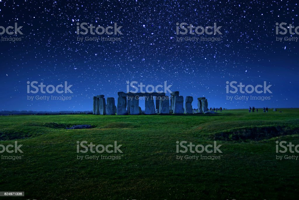 Starry Night Stonehenge stock photo