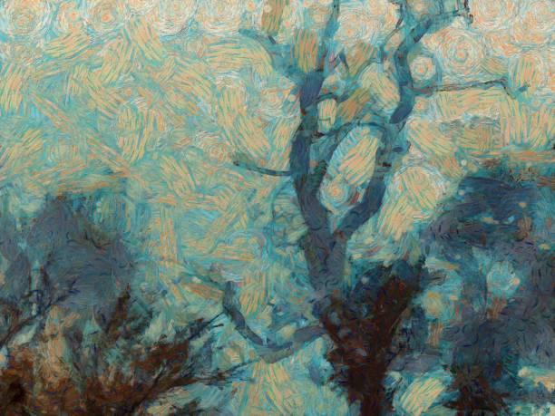 星夜,夜中的樹 - 畫 藝術品 個照片及圖片檔