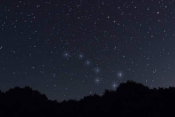 nuit étoilée grande ourse et charrue constellation avec crampons diffraction - grande ourse photos et images de collection