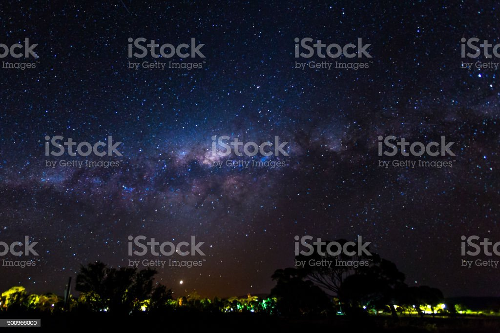 Starry night with colorful milky way stock photo