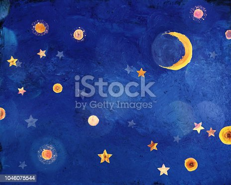 Painted stars, clouds and crescent moon. All paintings are made by photographer.
