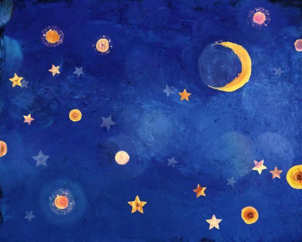 sternennacht mit mondsichel - himmel bilder stock-fotos und bilder