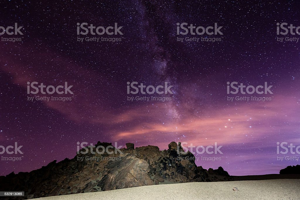 Starry Night with the Milky Way above Tenerife/Spain stock photo
